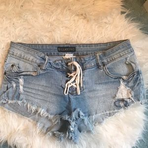BILLABONG Lace Up Denim Shorts